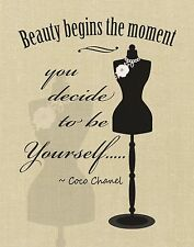"Women's Beauty Fashion Art Print: Inspirational Quote ""Be Yourself"" Coco Chanel"