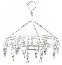 HANGING 12 IN ROUND DISPLAY RACK WITH 16 METAL CLIPS hang jewelry clothes dryer