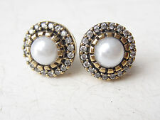 TURKISH OTTOMAN PEARL ROUND 925K STERLING SILVER HURREM SULTAN STUD EARRINGS