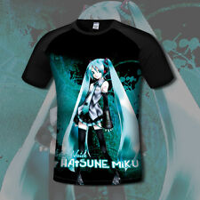 Cute Hatsune Miku VOCALOID JP Anime Unisex Black T-Shirt Short Sleeve Tops #G67