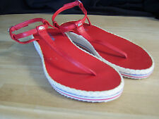 LACOSTE Red Leather Ankle Thong RWB Wedge Size USA 8 NWOT