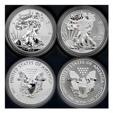 2013 W SILVER EAGLE ENHANCED & REVERSE PROOF WEST POINT 2 COIN SET MINT BOX+COA