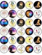 """Bonfire Night Fireworks 30 x 1.5"""" Rice Paper Cake Toppers - FREE P&P Firework D1"""