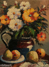 "Oil Painting On Stretched Canvas 12""x 16""- Flower Vase"