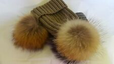 2 x Winter Hats With Large Fur Pom Pom Cap Knit Beanie One Brown & One Gray