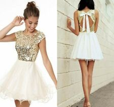 Gold Sequined Chiffon Short Mini Homecoming Formal Dress Custom Cocktail Gowns