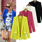 S-XL Womens Candy Colors OL Lapel Slim Suit Outwear Blazer Career Coat Jacket