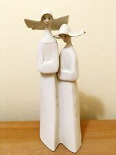 Lladro Porcelain Figurine Double NUNS #4611, Matte Bisque White