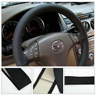 DIY Leather Car Auto Steering Wheel Cover With Needles and Thread Black SM