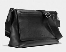 COACH MEN'S SULLIVAN MESSENGER BAG IN BLACK PEBBLED LEATHER 71645