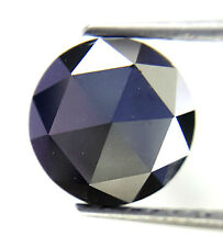 1.34 Cts 7.5 MM Round Rose cut Jet Black AAA Color African Natural Loose Diamond