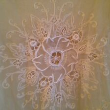 Embroidered Lace Cover Up L Top Blouse Embroidered Anthro Sheer Tulle Ivory  2C