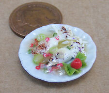 1:12 Small Hand Made Cooked Squid On 2.5cm Ceramic Plate Doll House Miniature FL