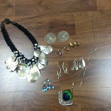 Vintage Jewelry Lot Wire Earrings Necklaces 70s Estate Hippie Boho