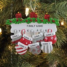 MITTEN FAMILY OF 7 PERSONALIZED HOLIDAY CHRISTMAS TREE ORNAMENT HOLIDAY GIFT