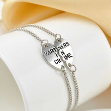 "2 Part ""Partners in Crime"" Best Friends BFF Silver Heart Chain Charm Bracelet"