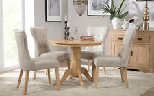 Kingston Round Oak Dining Room Table and 4 Bewley Fabric Chairs Set - Oatmeal