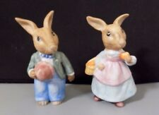 Ceramic Male/Female Rabbit Figurines In Easter Outfits With Easter Basket & Eggs