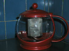 Red PYREX TEA Basket INFUSER Steeper Kettle - glass & plastic