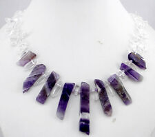 Raw Amethyst&crystal Necklace Ladies Handmade Natural Gemstone Jewellery N10007