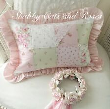 Rachel Ashwell Fabrics Patchwork Pillow~Vintage Lace Hanky~Pearl Buttons~Roses