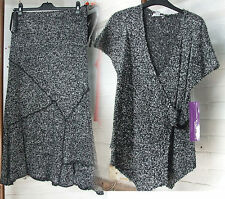 Joseph Ribkoff 10 BNWT Exquisite Soft Mottled Black & White Top & Skirt Set Suit