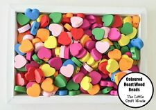 25 x 18mm Wood Heart Bead Flat Bright Mixed Colours Wooden Beads Hearts Craft