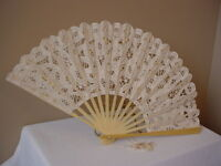 VICTORIAN TEA LADIES CIVIL WAR WEDDING ECRU BATTENBURG LACE FAN  CAS SASS