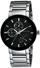 New Bulova 96C105 Stainless Steel Black Dial Day/Date Men's Watch 40mm