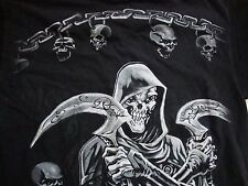 Grim Reaper Heavy Metal Hardcore Cross Bones Black T Shirt Men's Size M