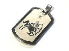 Bijou acier pendentif plaque strass signe du zodiaque sagittaire pendant