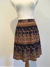anthropologie skirt size small blue with ethinic design edme and esyllte silk