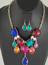 Gold and Multi Colored Crystal FASHION Necklace Set