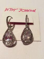 $38 Betsey Johnson Silver‑Tone Clear Crystal Teardrop Earrings J12 45