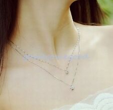 925 Sterling Silver -Stylish 2-Layer Round Star Embed Zircon Party Lady Necklace