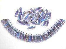 50 multicolore czech glass dagger beads - 3x10mm (tt004)
