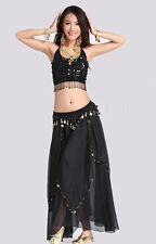New Belly Dance Costume 2 pics Bra Top & Skirt with Coins Black