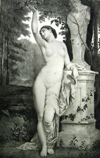 NAKED NUDE WOMAN GIRL BREASTS IN FOREST ~ Old 1893 Sexy Erotica Art Print RARE!
