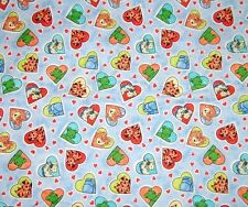 """ANIMAL HEARTS ON BLUE TONAL WITH RED MINI HEARTS COTTON FLANNEL FABRIC - 71"""""""