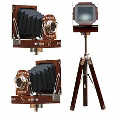 Vintage Folding Camera Brown Nickel wooden shutter lens cameras Wooden Film Gift