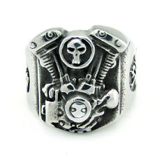 V TWIN EVO STYLE MOTORCYCLE ENGINE MOTOR BIKER STAINLESS STEEL RING SIZE 11