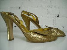 MIU MIU Slingback Heels Gold Metallic with Bow Detail  37 1/2