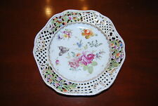 CARL THIEME SAXONIA HP DRESDEN FLOWERS SCALLOPED RETICULATED CABINET PLATE #1