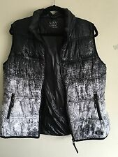 Marc New York Black White Abstract avantgarde Puffer Down Styl Vest Jacket XL/L