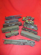 Group HO Military Army Train Engine, Box Cars, Mobile Artillery AHM COX 12 Pcs!