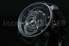 Invicta 20195 Mens S1 Rally Gunmetal Skull Mechanical Black Leather Strap Watch