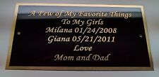 """Engraved  3"""" x 6"""" Solid Brass Plate Picture Frame Art Memorial Label Name Tag"""