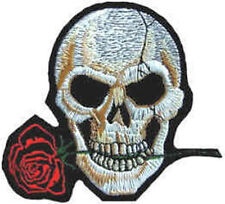 Iron On/ Sew On Embroidered Patch Badge Skull and Rose Skeleton Head Mouth