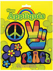 4 Piece Iron Hippie Patches 60's 70's CND Flower Power Carnival Fancy Dress New