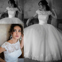 Stock 2016 New White/Ivory Lace Ball Gown Wedding dress Bridal gown UK Size 4-18